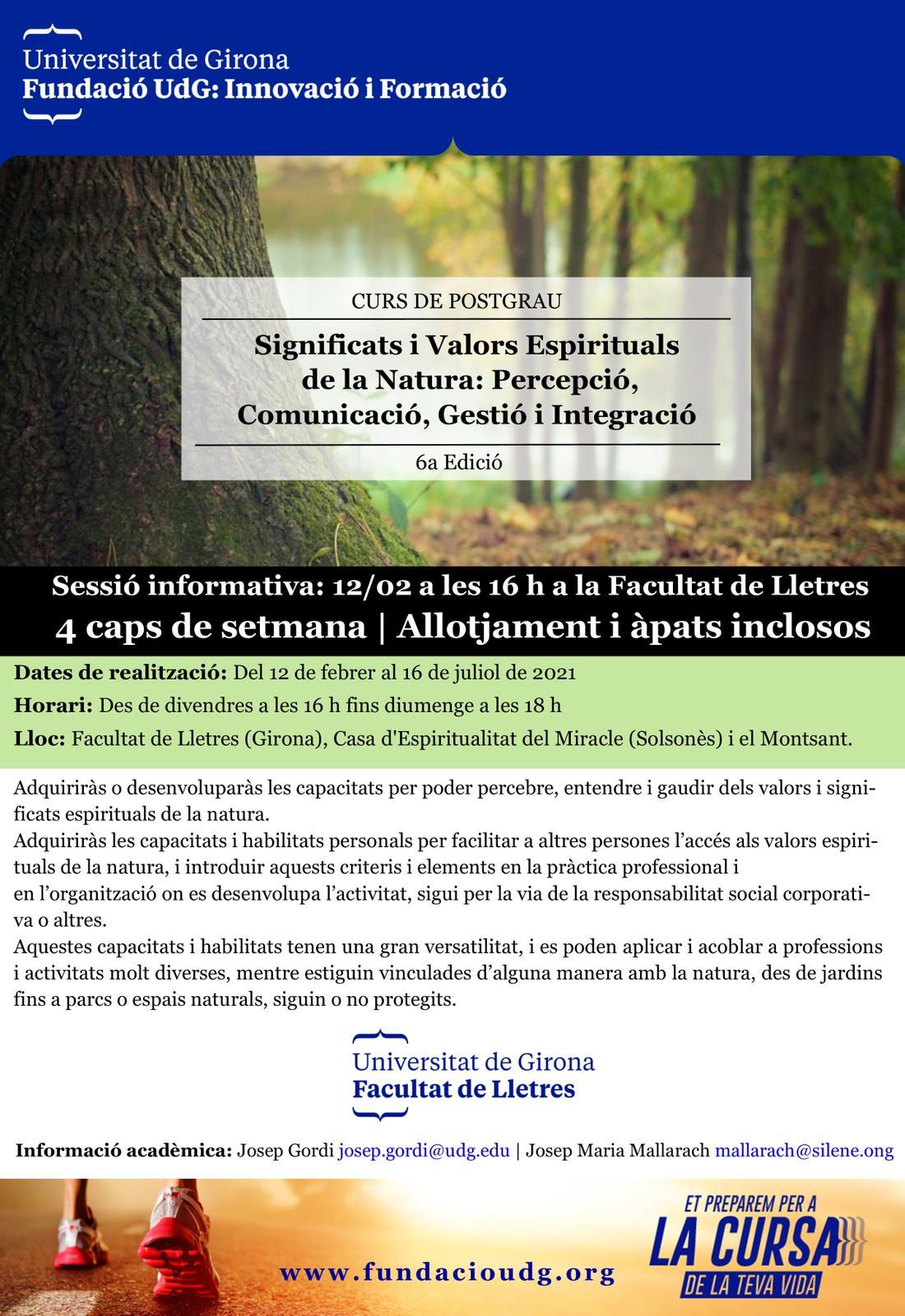 Curs de Postgrau en Significats i Valors Espirituals de la Natura: Percepció, Comunicació, Gestió i Integració 2021
